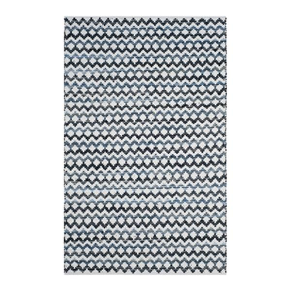 Safavieh Montauk Flat Weave Ivory Blue and Black Area Rug,MT