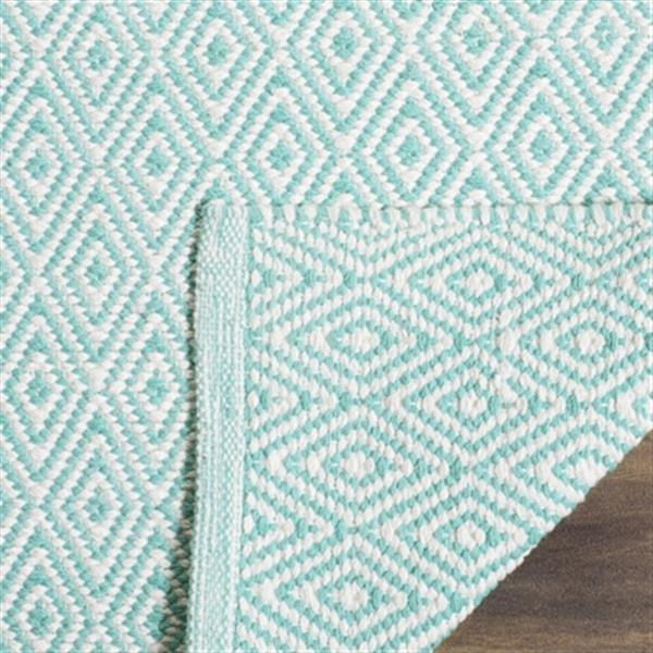 Safavieh Montauk Flat Weave Ivory and Aqua Area Rug,MTK515A-