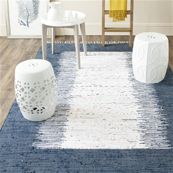 Safavieh Montauk Flat Weave Ivory and Navy Area Rug,MTK711L-