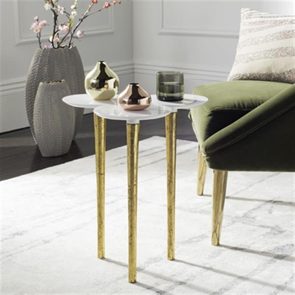 Safavieh Aria 17.5-in White/Gold Accent Table