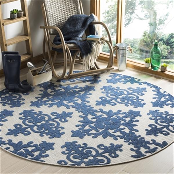Safavieh Cream and Royal Blue Cottage Indoor/Outdoor Rug,COT