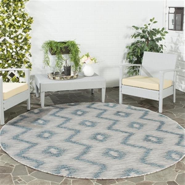Safavieh Grey and Blue Courtyard Indoor/Outdoor Rug,CY8463-3