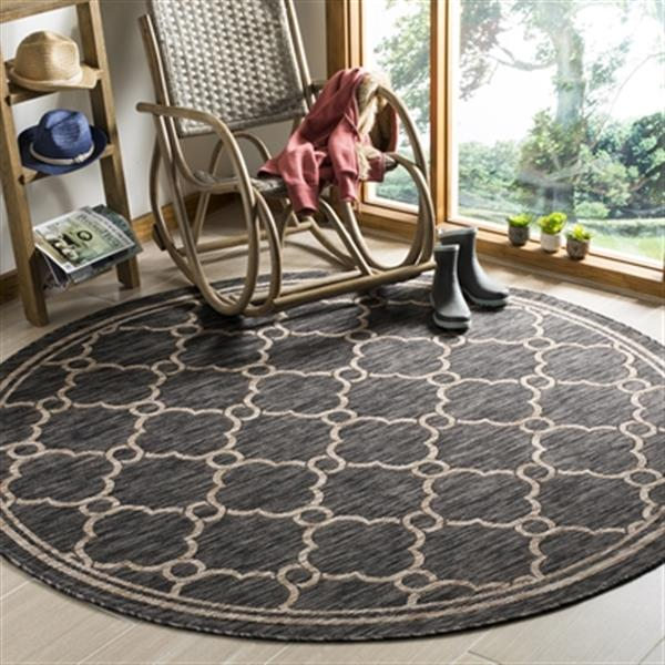 Safavieh Natural and Black Courtyard Indoor/Outdoor Rug,CY84
