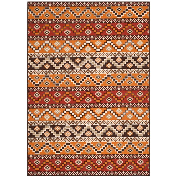 Safavieh Red and Chocolate Veranda Indoor/Outdoor Rug,VER095