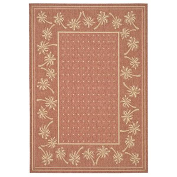 Safavieh Courtyard 7 ft x 10 ft Orange and Red Indoor/Outdoor Area Rug