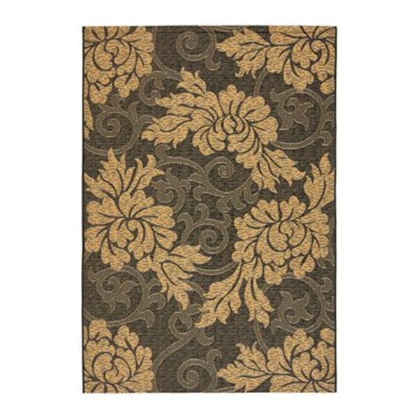 Safavieh Courtyard Indoor/Outdoor 7-ft x 10-ft Floral Yellow and Black Area Rug