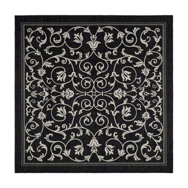 Safavieh Courtyard 8-ft x 8-ft Floral Black/Sand Area Rug