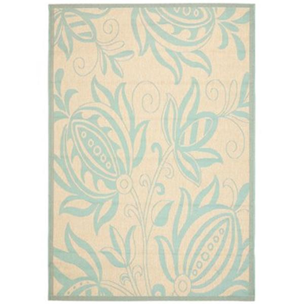 Safavieh Courtyard 7 ft x 10 ft  Cream and Aqua  Area Rug