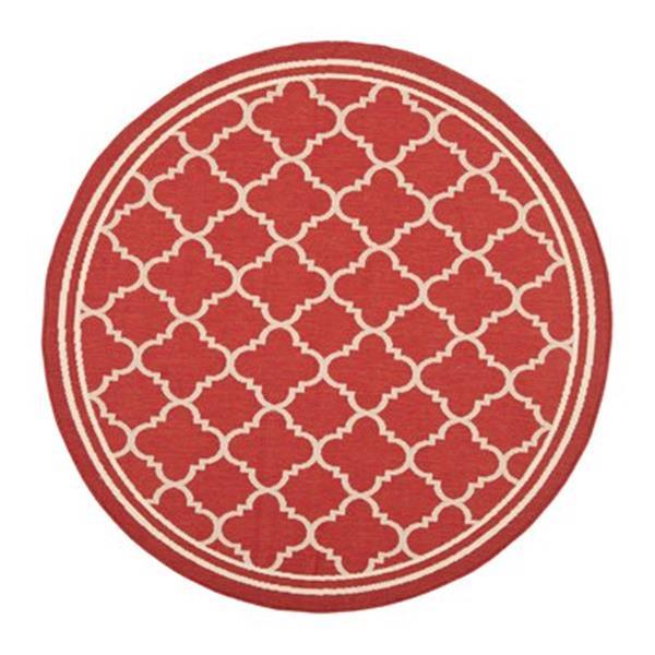 Safavieh Courtyard Indoor/Outdoor 7-ft x 10-ft Red and Cream Area Rug