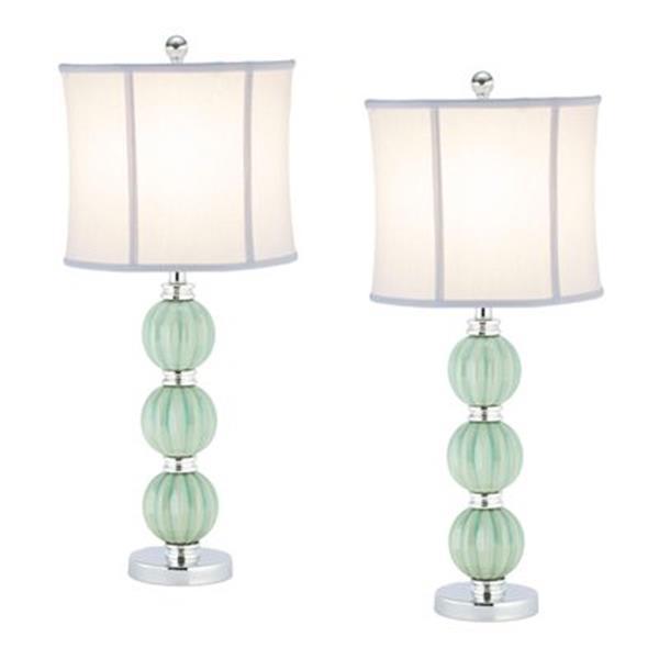 Safavieh 25-in Light Green Mia Globe Lamp (Set of 2)