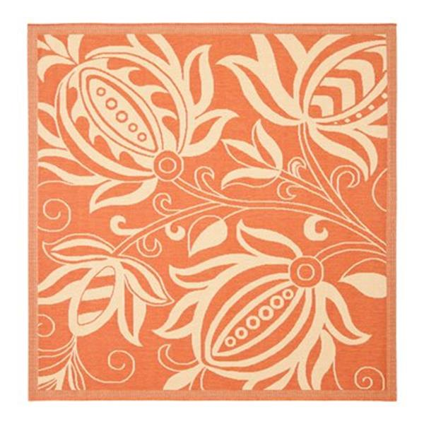 Safavieh Courtyard Indoor/Outdoor 8-ft x 8-ft Orange and Cream Area Rug