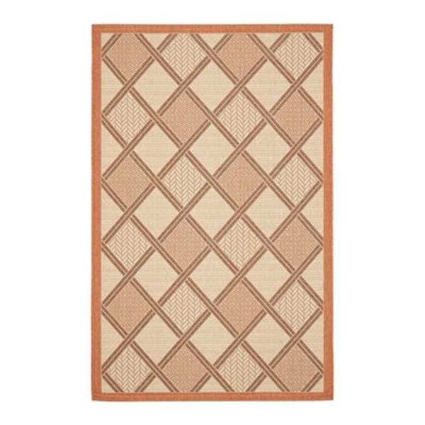 Safavieh Courtyard 7 ft x 10 ft  Orange and Cream Indoor/Outdoor Area Rug