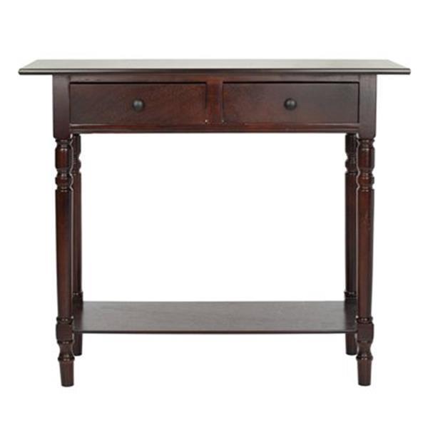 Safavieh Rosemary 2-Drawer Rectangular Dark Cherry Wood Console Table