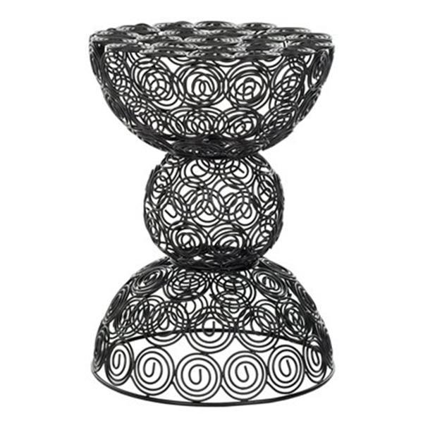 Safavieh Leila 18.3-in Black Iron Wire Stool Table