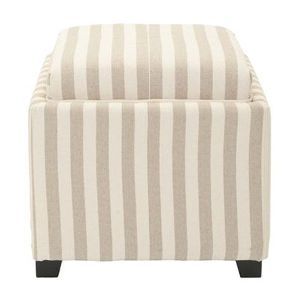 Safavieh Harrison 17.00-in x 18.00-in Stripe Cotton Tray Ottoman
