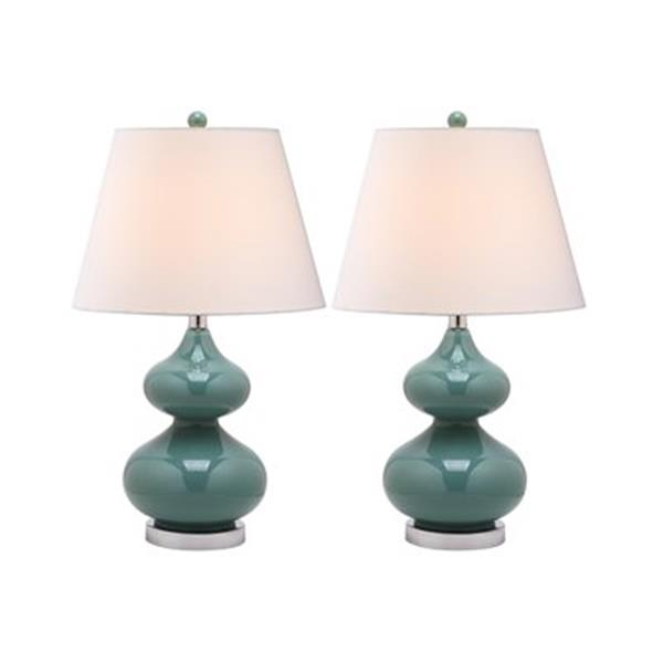 Safavieh 24-in Marine Blue Double-Gourd Lamps (Set of 2)