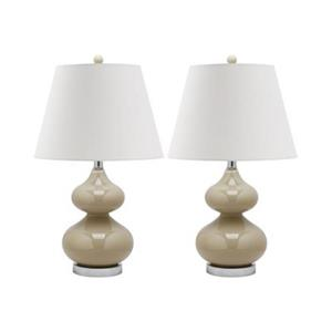 Safavieh 24-in Taupe Double-Gourd Lamps (Set of 2)