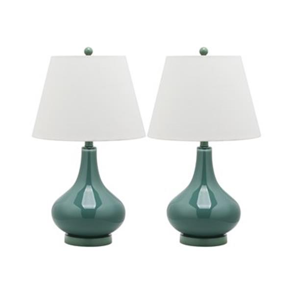 Safavieh 24-in Marine Blue Amy Gourd Lamps (Set of 2)