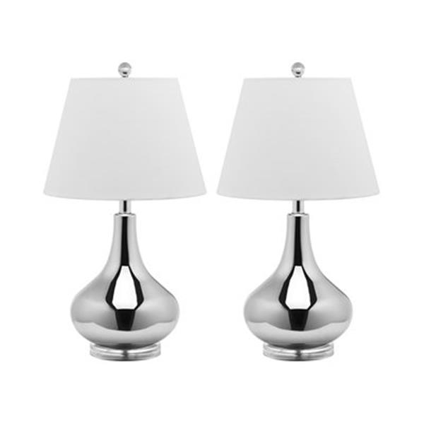 Safavieh 24-in Silver Amy Gourd Lamps (Set of 2)