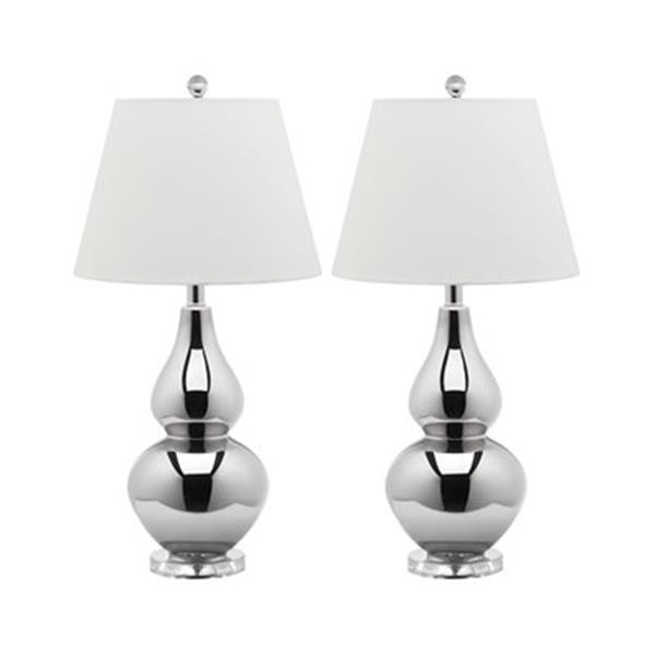 Safavieh 26.50-in Silver Cybil Double-Gourd Table Lamps (Set of 2)