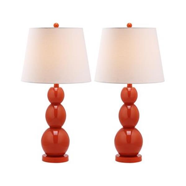 Safavieh 27.50-in Blood Orange Jayne Three Sphere Table Lamps (Set of 2)