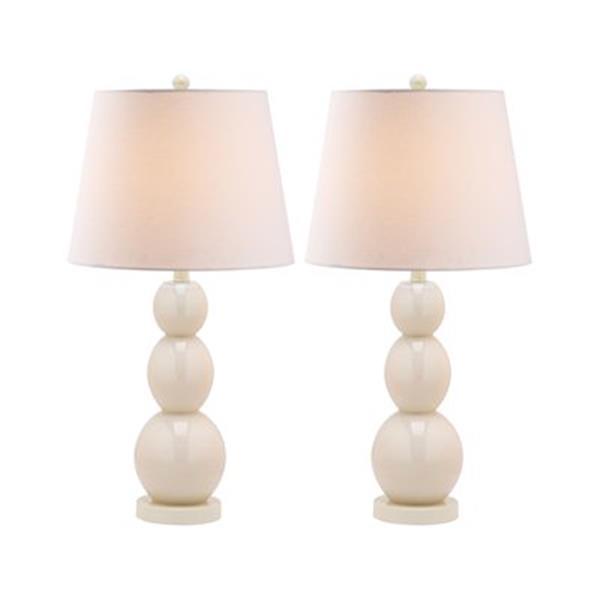Safavieh 27.50-in Pale White Jayne Three Sphere Table Lamps (Set of 2)
