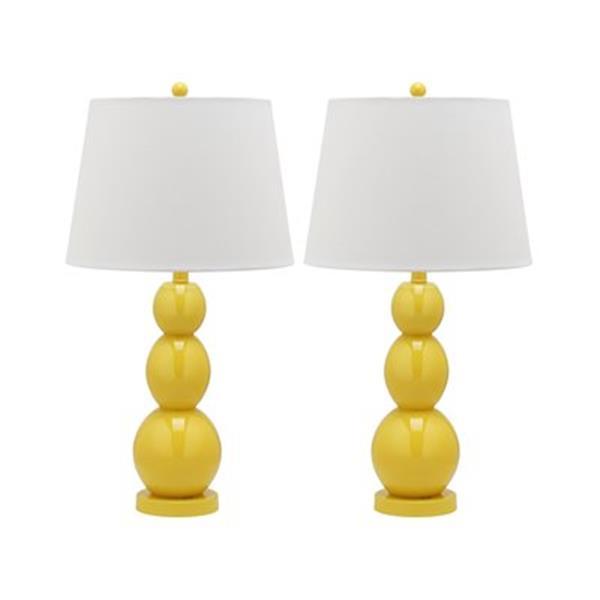 Safavieh 27.50-in Yellow Jayne Three Sphere Table Lamps (Set of 2)