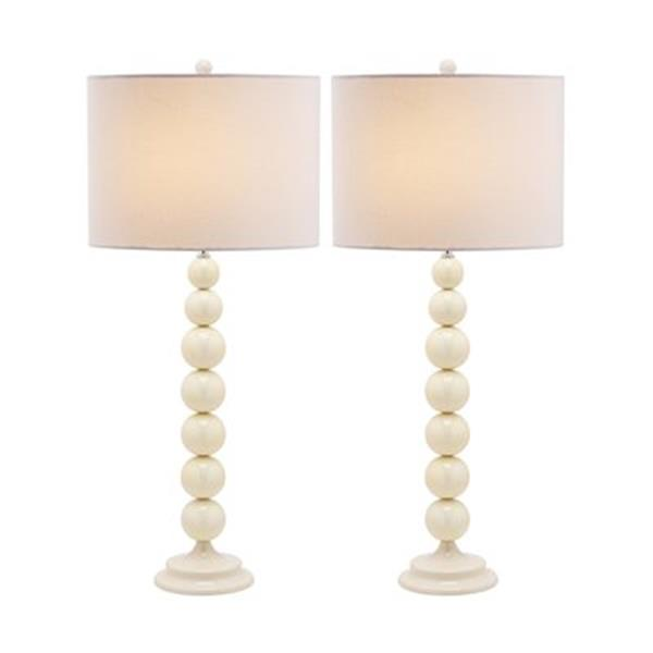 Safavieh 31-in White Jenna Stacked Ball Lamps (Set of 2)