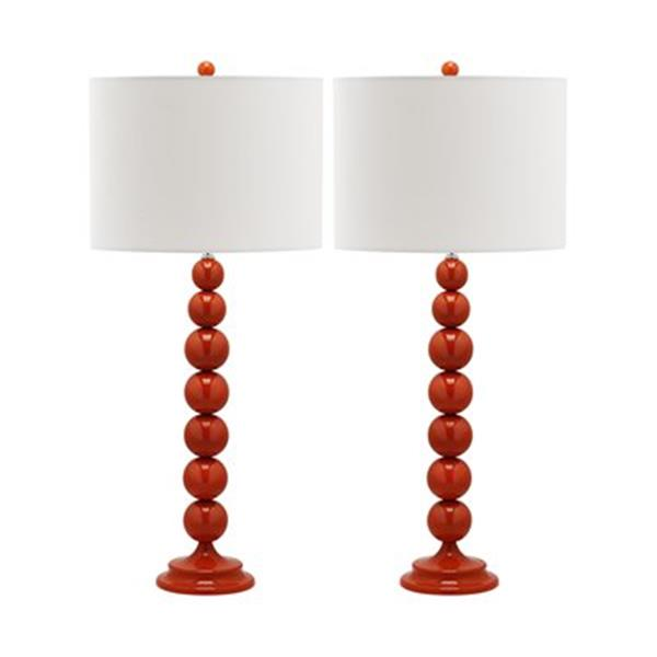 Safavieh 31-in Blood Orange Jenna Stacked Ball Lamps (Set of 2)