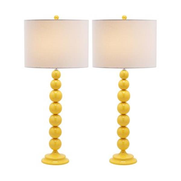 Safavieh 31-in Yellow Jenna Stacked Ball Lamps (Set of 2)