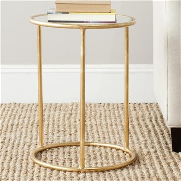 Safavieh Shay 19.7-in Gold/Mirror Glass Accent Table