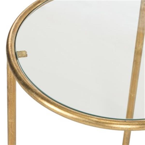 Safavieh Shay 19.7-in Gold/Clear Glass Accent Table
