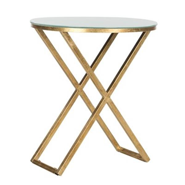 Safavieh Riona 22.9-in Gold/White Glass Accent Table