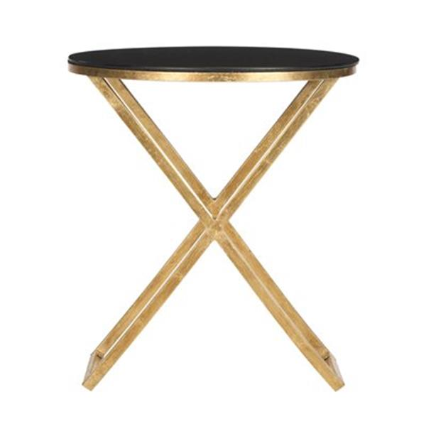 Safavieh Riona 22.9-in Gold/Black Glass Accent Table