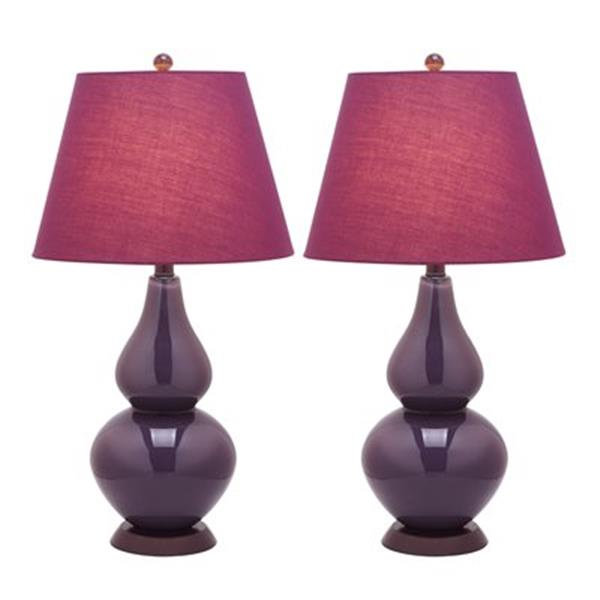 Safavieh 26.50-in Dark Purple Cybil Double-Gourd Table Lamps (Set of 2)