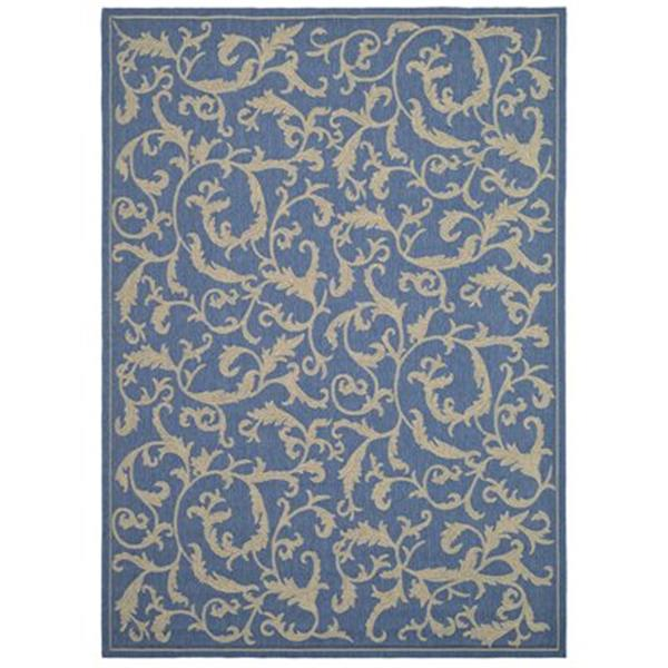 Safavieh Courtyard Indoor/Outdoor Round Blue and Natural Area Rug