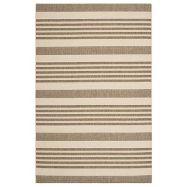 Safavieh Courtyard 6-ft 7-in x 9-ft 6-in Brown and Bone Area Rug