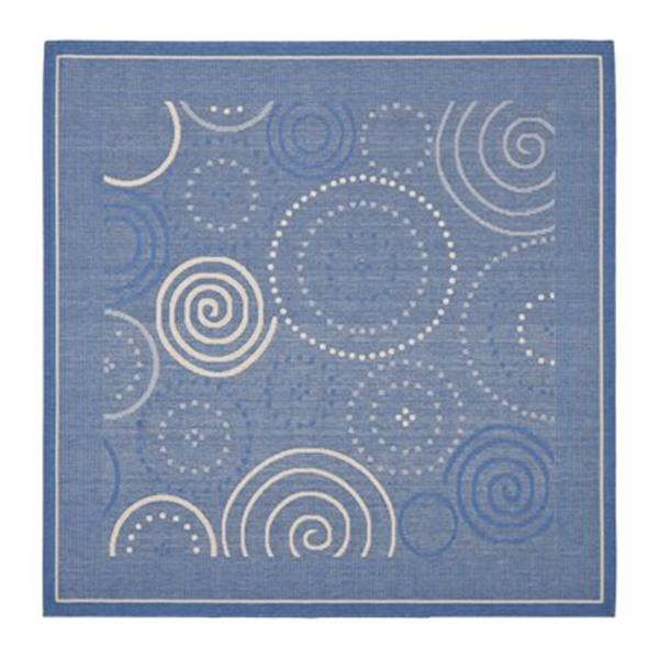 Safavieh Courtyard 8 ft x 8 ft Blue and Natural Indoor/Outdoor Area Rug