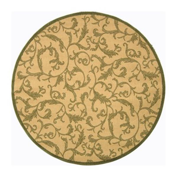 Safavieh Courtyard 8 ft x 8 ft Natural and Olive Indoor/Outdoor Area Rug
