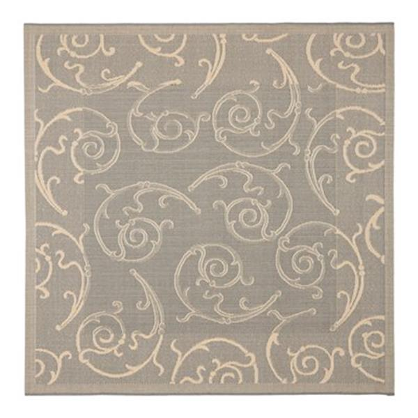 Safavieh Courtyard 8 ft x 8 ft Grey and Natural Indoor/Outdoor Area Rug