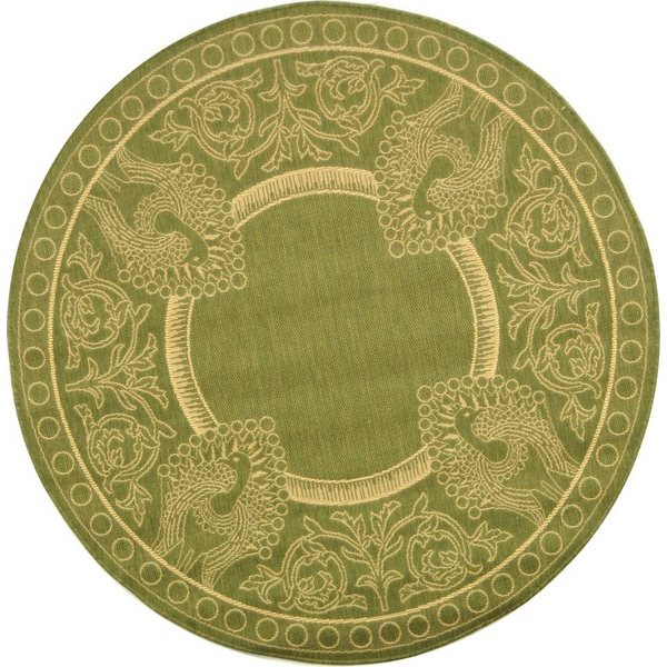 Safavieh Courtyard 8 ft x 8 ft Olive and Natural Indoor/Outdoor Area Rug