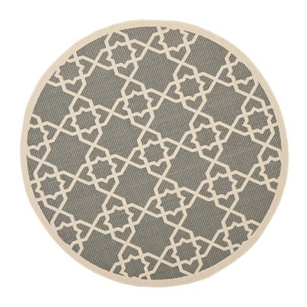 Safavieh Courtyard 8 ft x 8 ft Grey and Beige Indoor/Outdoor Area Rug