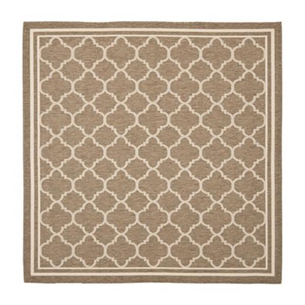 Safavieh Courtyard 8 ft x 8 ft Brown and Cream Indoor/Outdoor Area Rug
