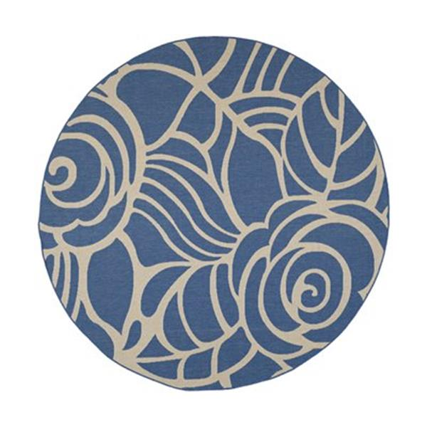 Safavieh Courtyard  8 ft x 8 ft  Blue and Beige Area Rug