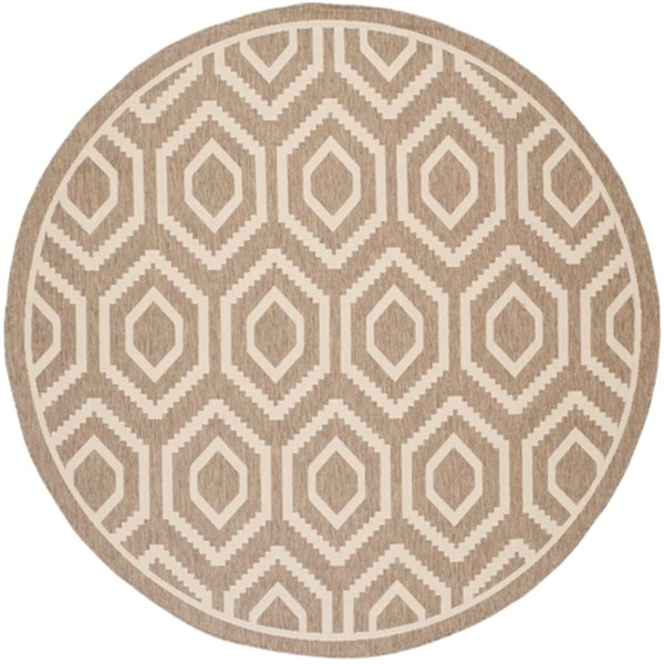 Safavieh Courtyard 8 ft x 8 ft Brown and Bone Round Area Rug