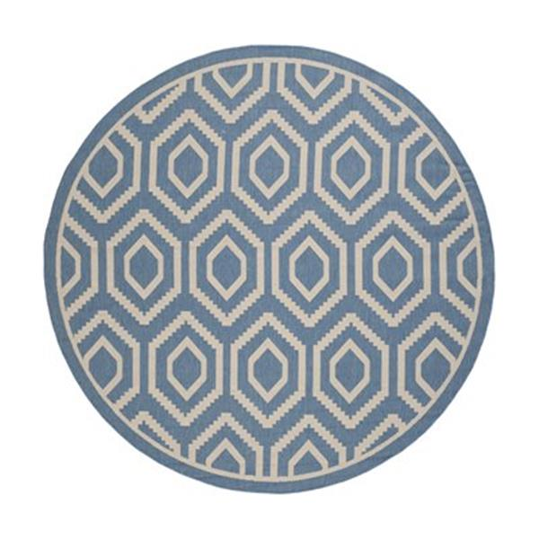 Safavieh Courtyard 8 ft x8 ft Blue and Beige Area Rug