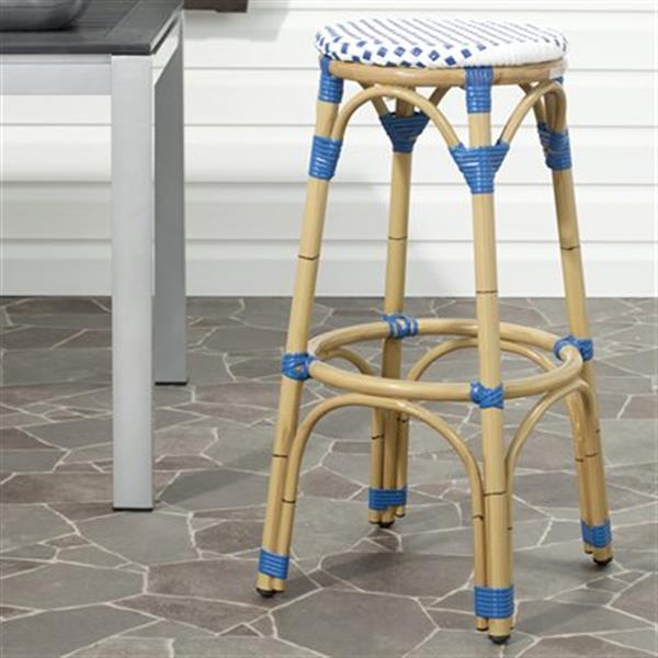Safavieh Fox 30.7-in x 20.5-in White/Blue Checkered Wicker Kipnuk Indoor/Outdoor Bar Stool
