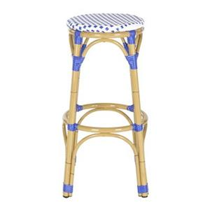 Safavieh Fox 30.7-in x 20.5-in White/Blue Checkered Wicker Kipnuk Indoor/Outdoor Bar Stool