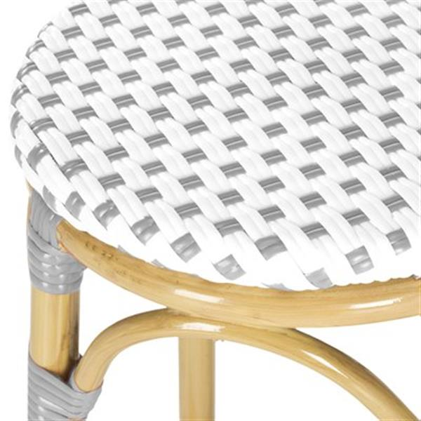 Safavieh Fox 30.7-in x 20.5-in White/Grey Checkered Wicker  Kipnuk Indoor/Outdoor Bar Stool