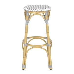 Safavieh Fox 30.7-in x 20.5-in White/Grey Checkered Wicker  Kipnuk Indoor/Outdoor Bar Stool